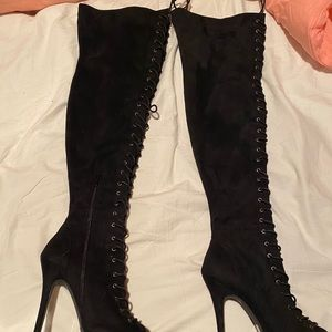 Charlotte Russe - Over Knee High Open Toe Boots